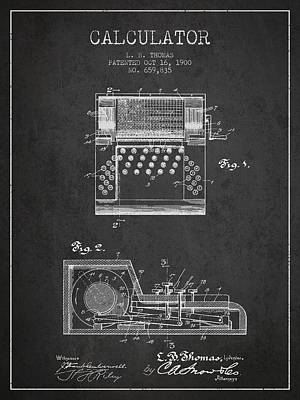 Calculator Patent From 1900 - Charcoal Art Print