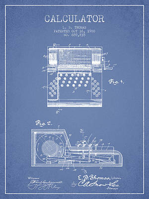 Numbers Drawing - Calculator Patent From 1900 - Light Blue by Aged Pixel