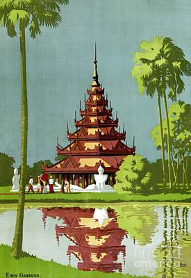 Burmese Python Mixed Media - Calcutta Vintage Travel Poster Restored by Carsten Reisinger