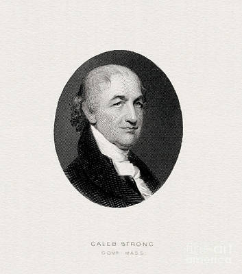 Caleb Strong, Engraved Portrait Art Print by Celestial Images