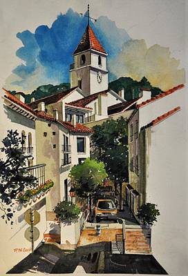 Painting - Calella Town Tower by Robert W Cook