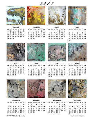 Calendar 2017 With Watercolor Abstract Paintings Art Print by Julia Apostolova