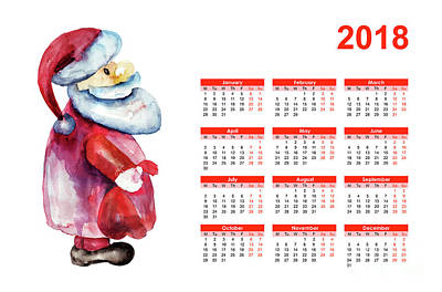Digital Art - Calendar 2018 With Santa Claus by Regina Jershova