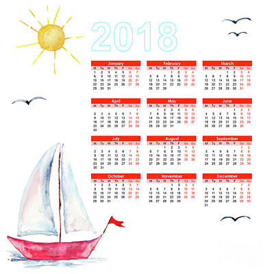 Painting - Calendar 2018 With Ships In The Sea by Regina Jershova