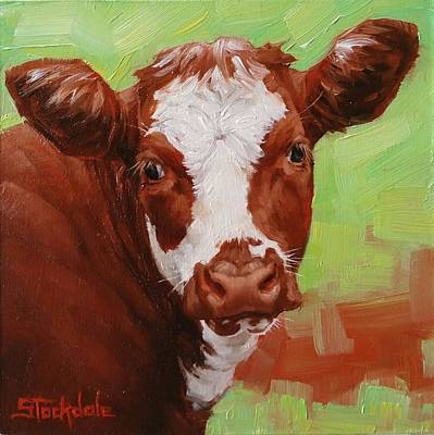 Painting - Calf Portrait In Miniature  by Margaret Stockdale