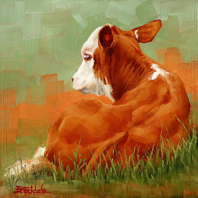 Painting - Calf Reclining by Margaret Stockdale