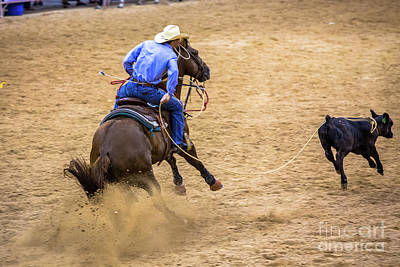 Photograph - Calf Roping At The Rodeo by Rene Triay Photography