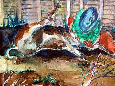 Rodeo Art Drawing - Calf Roping by Mindy Newman