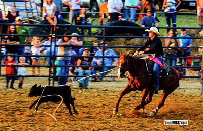 Photograph - Calf Roping Success by Jeff Kurtz