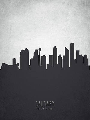 Canada Painting - Calgary Alberta Cityscape 19 by Aged Pixel