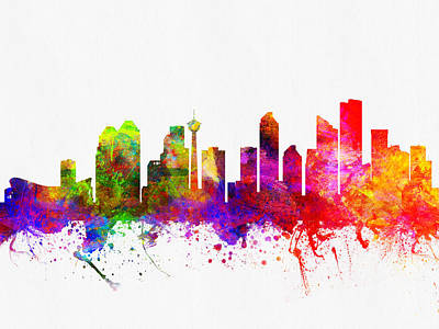 Calgary Digital Art - Calgary Alberta Skyline Color02 by Aged Pixel