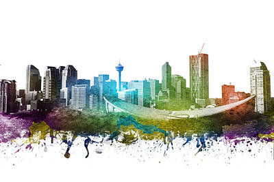 Towns Digital Art - Calgary Cityscape 01 by Aged Pixel