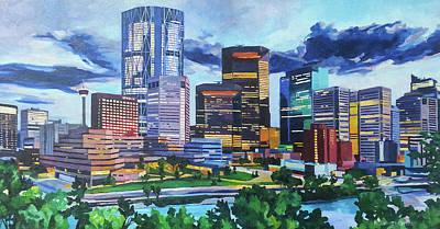 Painting - Calgary Downtown Evening by Nel Kwiatkowska
