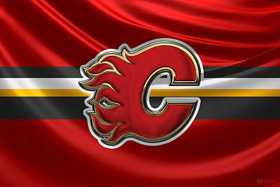 Hockey Art Digital Art - Calgary Flames - 3 D Badge Over Silk Flag by Serge Averbukh