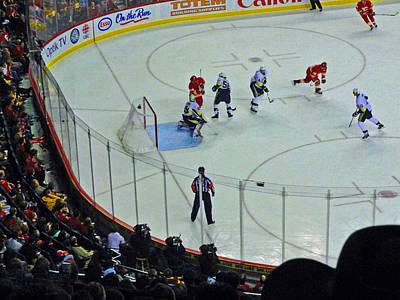 Calgary Flames Home Opener Print by Al Bourassa