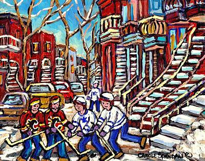 Calgary Flames Painting - Calgary Flames Vs Maple Leafs Hockey Art Kids Winter Fun Montreal Streets And Staircases Canada Art by Carole Spandau