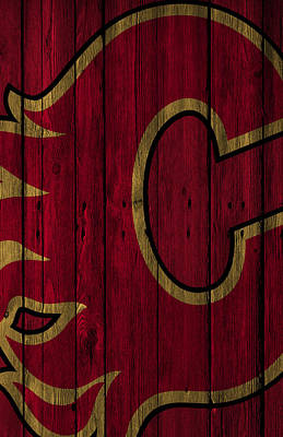 Stanley Cup Digital Art - Calgary Flames Wood Fence by Joe Hamilton