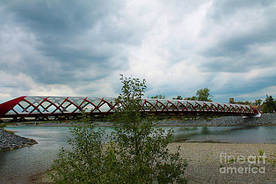 Photograph - Calgary Peace Bridge And Bow River by Nina Silver