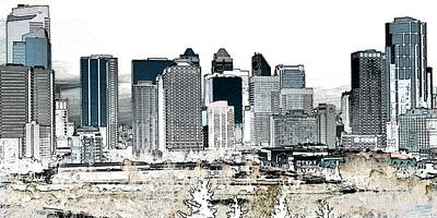 Calgary Skyline 1 Art Print by Stuart Turnbull