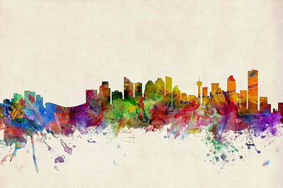 Watercolour Digital Art - Calgary Skyline by Michael Tompsett