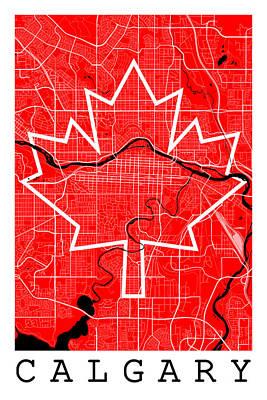 Calgary Digital Art - Calgary Street Map - Calgary Canada Road Map Art On Canada Flag Symbols by Jurq Studio