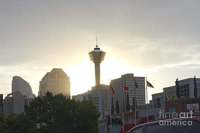 Photograph - Calgary Tower Lit By Sun by Donna Munro