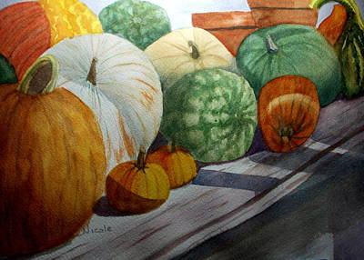 Farmstand Painting - Calgo Pumpkins by Nicole Curreri