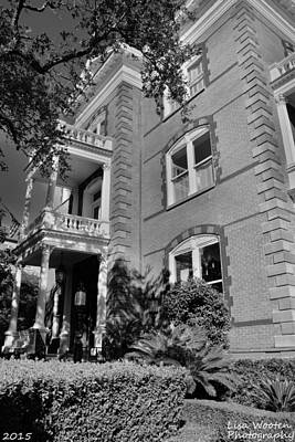 Photograph - Calhoun Mansion Black And White by Lisa Wooten
