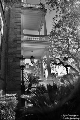 Photograph - Calhoun Mansion Charleston Sc Black  And White by Lisa Wooten
