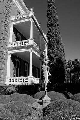 Photograph - Calhoun Mansion Gardens Charleston Sc Black And White by Lisa Wooten
