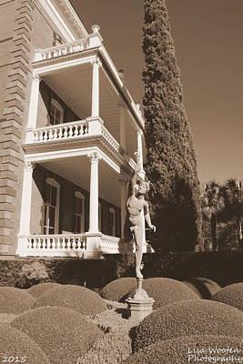 Photograph - Calhoun Mansion Gardens Charleston Sc Sepia by Lisa Wooten