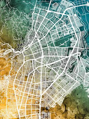 Digital Art - Cali Colombia City Map by Michael Tompsett