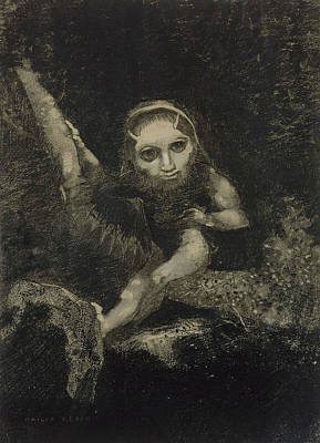 Monster Art Drawing - Caliban by Odilon Redon
