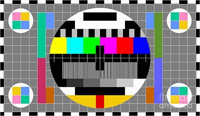 Shirt Digital Art - Calibration Test Card, Tv Monitor Film, Video Geek by Tina Lavoie