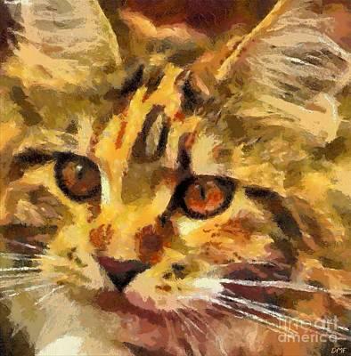 Minimalism Painting - Calico Cat by Dragica Micki Fortuna