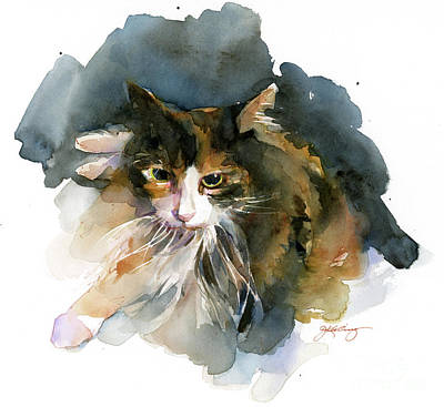 Watercolor Pet Portraits Painting - Calico Cat by John Keeling