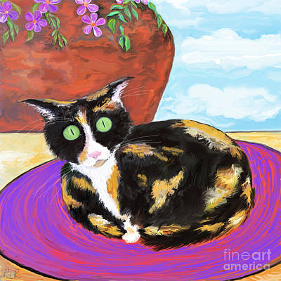 Painting - Calico Cat On A Rug  by Reina Resto