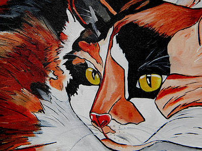 Calico Cat Painting - Calico Close Up Of Face by Patti Schermerhorn