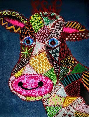 Calico Cow Art Print
