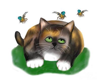 Digital Art - Calico Kitten Watches Three Bees by Ellen Miffitt