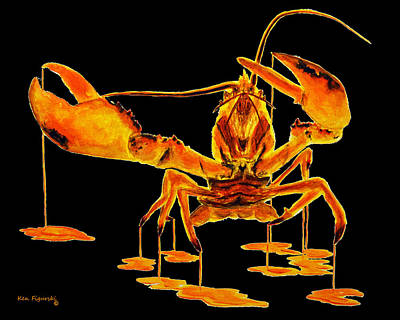Watercolor Painting - Calico Lobster On Black by Ken Figurski