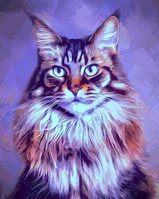 Digital Art - Calico Maine Coon Painting by Scott Wallace