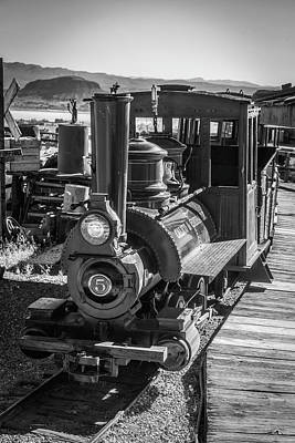 Narrow Gauge Engine Photograph - Calico Odessa Train In Black And White by Garry Gay