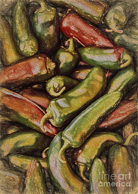 Nutrition Drawing - Caliente Jalapenos by Janice Rae Pariza