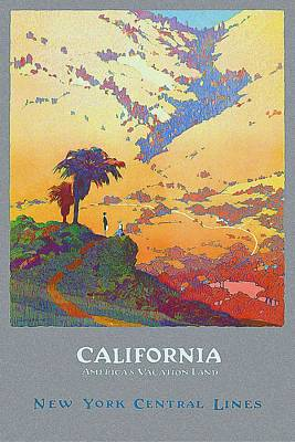 Royalty-Free and Rights-Managed Images - California - Americas Vacation Land and New York Central Lines - Retro travel Poster - Vintage by Studio Grafiikka