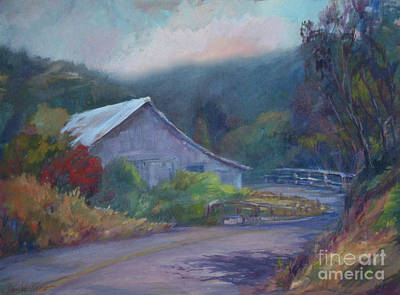 California Barn ... Around The Bend Art Print by Deirdre Shibano