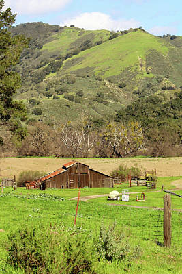 Photograph - California Barn In Spring by Art Block Collections