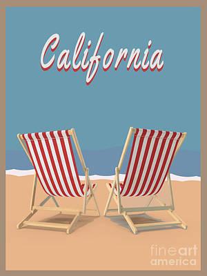 Digital Art - California Beach Vintage Poster by Edward Fielding