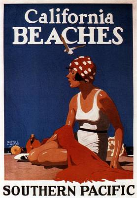 Mixed Media - California Beaches - Girl On A Beach - Retro Poster - Vintage Advertising Poster by Studio Grafiikka