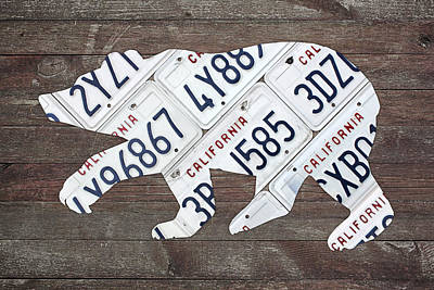 Polar Bear Mixed Media - California Bear Official State Animal Shape Recycled License Plate Art by Design Turnpike